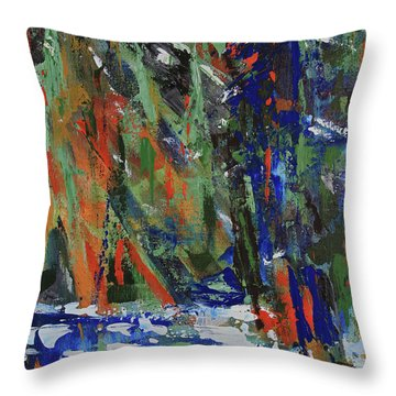 Throw Pillow featuring the painting First Snow Over Tenaya Creek by Walter Fahmy