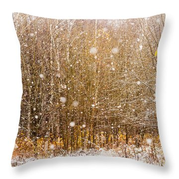 First Snow. Snow Flakes I Throw Pillow by Jenny Rainbow