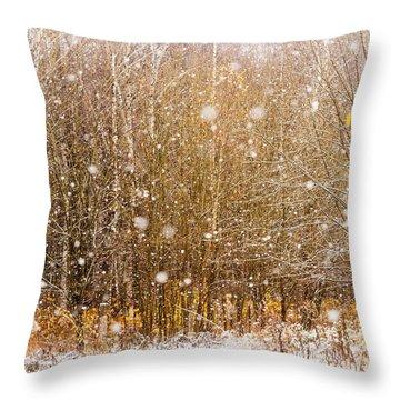 First Snow. Snow Flakes I Throw Pillow