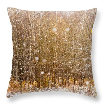 First Snow. Snow Flakes I Throw Pillow
