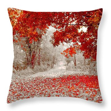 First Snowfall In Duluth Throw Pillow by Helen Stapleton