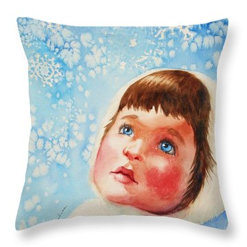 First Snowfall Throw Pillow by Marilyn Jacobson
