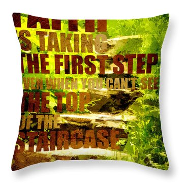 First Step Throw Pillow by Bonnie Bruno