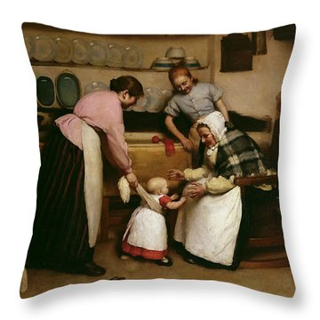 First Steps Throw Pillow by George Hall Neale