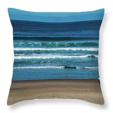 First Steps On The Sand Throw Pillow