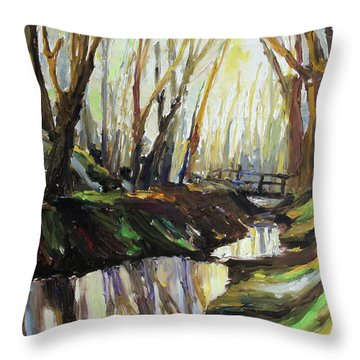 First Sun Of Spring Throw Pillow by Barbara Pommerenke