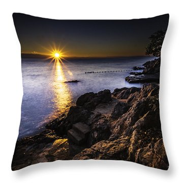 First Rays Over The Adriatic Throw Pillow