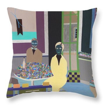 Throw Pillow featuring the painting First To Arrive by Bill OConnor