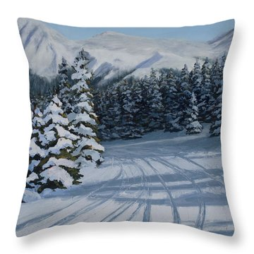 First Tracks Throw Pillow