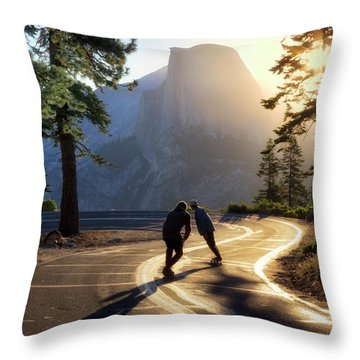 First Tracks Throw Pillow by Nicki Frates