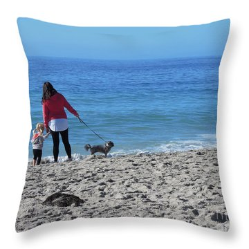 First Visit To The Ocean Throw Pillow by Vinnie Oakes