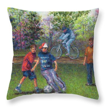 First Warm Day Throw Pillow by Susan Savad