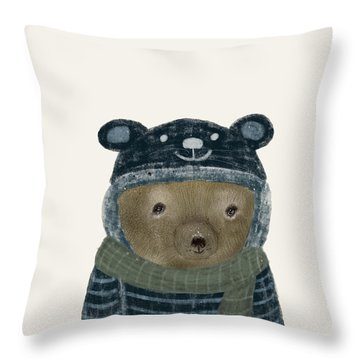 Throw Pillow featuring the painting First Winter Bear by Bri B