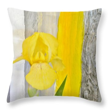 First Yellow Iris Throw Pillow by Marsha Heiken