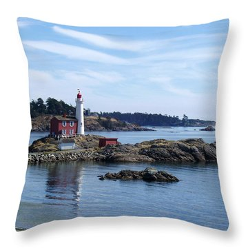 Fisgard Lighthouse Shoreline Throw Pillow