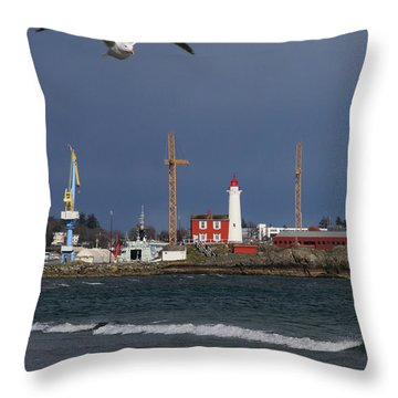 Throw Pillow featuring the photograph Fisgard Photobomber by Rasma Bertz