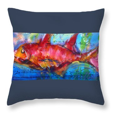 Throw Pillow featuring the painting Fish 4 by Les Leffingwell