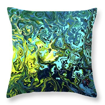Throw Pillow featuring the digital art Fish Abstract Art by Annie Zeno