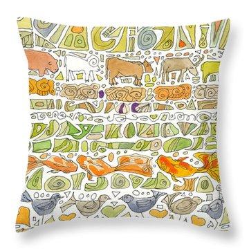 Fish And Fowl Throw Pillow by Linda Kay Thomas