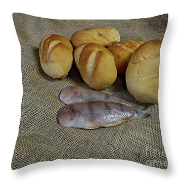 Fish And Loaves Throw Pillow