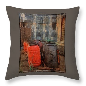 Throw Pillow featuring the photograph Fish Barrels by Thom Zehrfeld