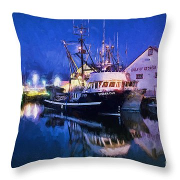 Fish Boats Throw Pillow by Jim  Hatch