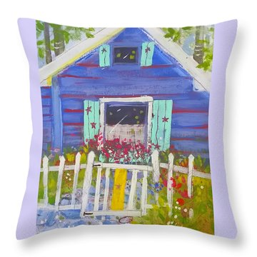 Fish Camp Cottage Throw Pillow