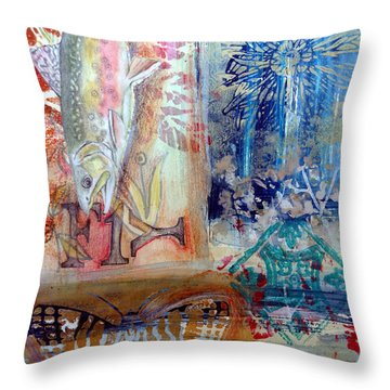 Throw Pillow featuring the mixed media Fish Collage #1 by Rose Legge