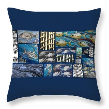 Fish Collage Throw Pillow