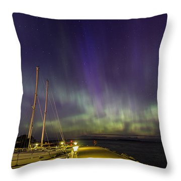 Throw Pillow featuring the photograph Fish Creek Marina Northern Lights by Paul Schultz