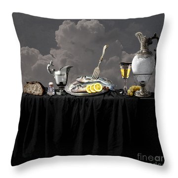 Fish Diner In Silver Throw Pillow