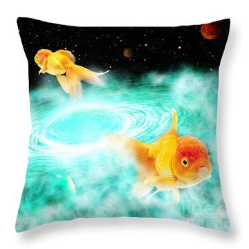Throw Pillow featuring the digital art Zen Fish Dream by Olga Hamilton