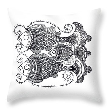Throw Pillow featuring the drawing Fish Family by Caroline Sainis