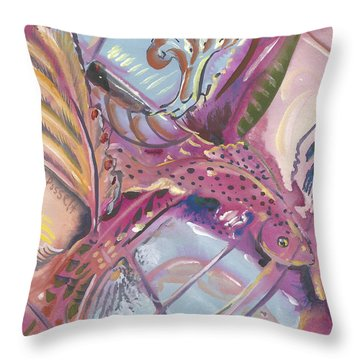 Fish Feathers Throw Pillow