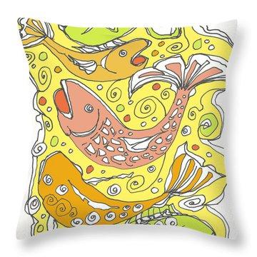 Fish Fish Throw Pillow by Linda Kay Thomas