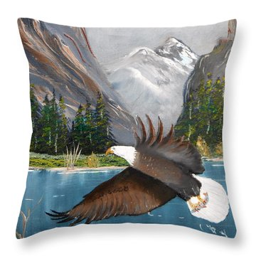 Fish For Dinner Throw Pillow by Al  Johannessen