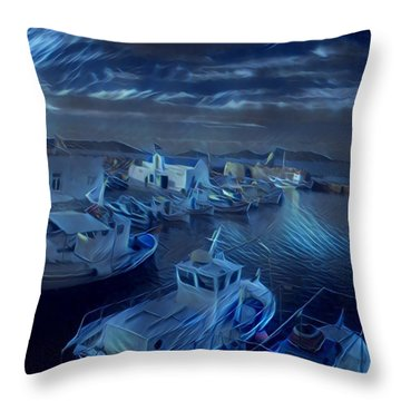 Fish Harbour Paros Island Greece Throw Pillow