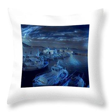 Fish Harbour Paros Island Greece Throw Pillow
