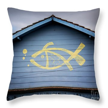 Throw Pillow featuring the photograph Fish House by Perry Webster