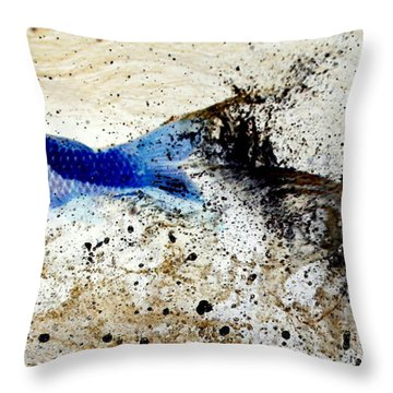 Fish In Rapids Throw Pillow