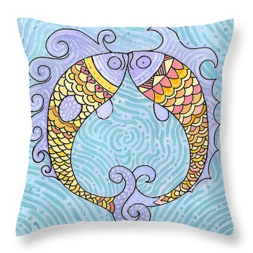 Throw Pillow featuring the painting Fish Love by Caroline Sainis