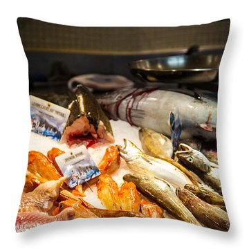 Throw Pillow featuring the photograph Fish Market by Jason Smith