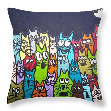 Fish Moon Cats Throw Pillow