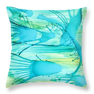 Throw Pillow featuring the painting Fish N Shrimp by Deborah Boyd