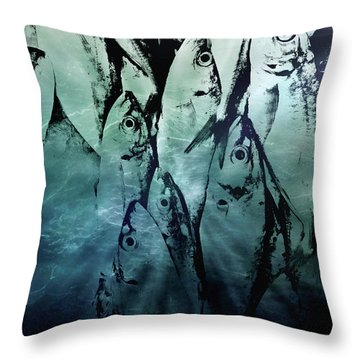 Fish Pattern Throw Pillow by Tom Gowanlock
