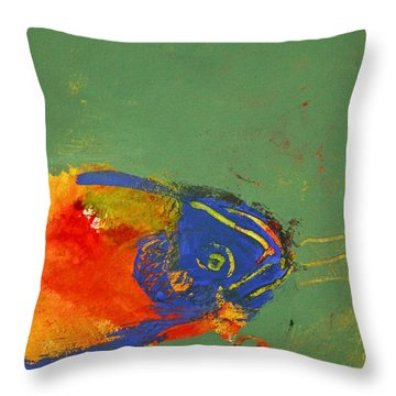 Throw Pillow featuring the painting Fish Pondering The Anomaly Of Mans Anamnesis by Cliff Spohn