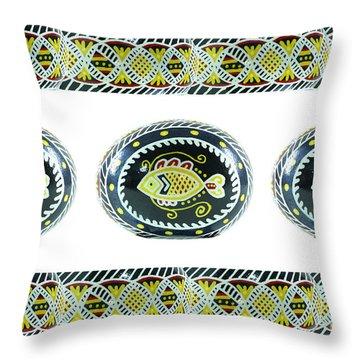 Fish Pysanky White Throw Pillow
