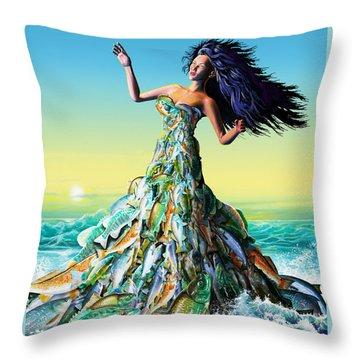 Fish Queen Throw Pillow