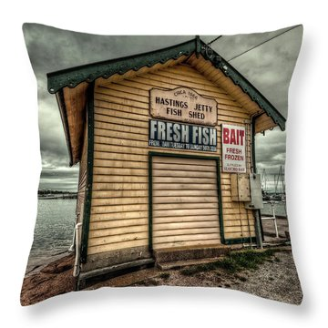 Fish Shed Throw Pillow by Wayne Sherriff
