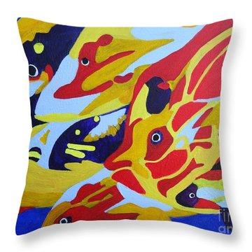 Fish Shoal Abstract 2 Throw Pillow